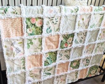 Greenery and Floral Baby Quilt - Crib Quilt for Baby Girl - Minky Rag Quilt