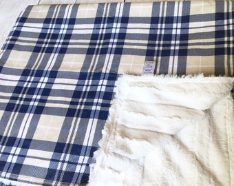 Navy and Tan Check Minky Blanket