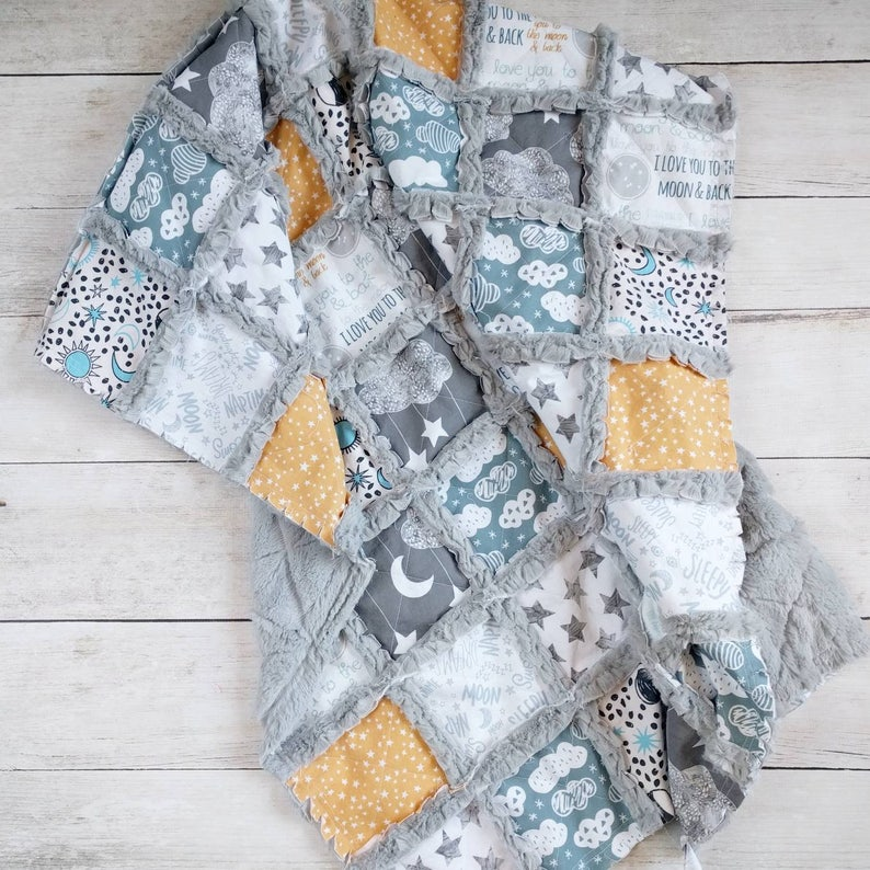 I Love You to the Moon and Back Crib Quilt in Blue Yellow image 0
