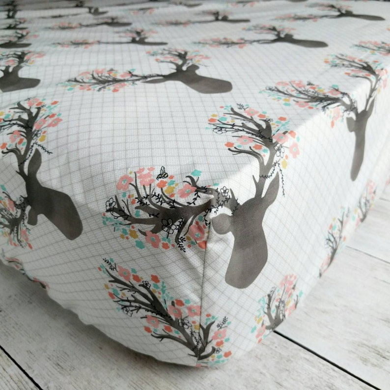 Stag with Flowers Fitted Crib Sheet  Woodland Deer Crib Sheet image 0