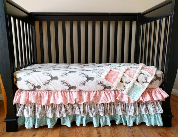 Fl Woodland Crib Bedding For Baby, Pretty Baby Crib Bedding