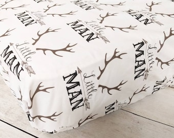 Antler Fitted Crib Sheet for Baby Boy Nursery - Rustic Fitted Crib Sheet - Little Man Crib Sheet - Stag Crib Sheet - Rustic Nursery Bedding