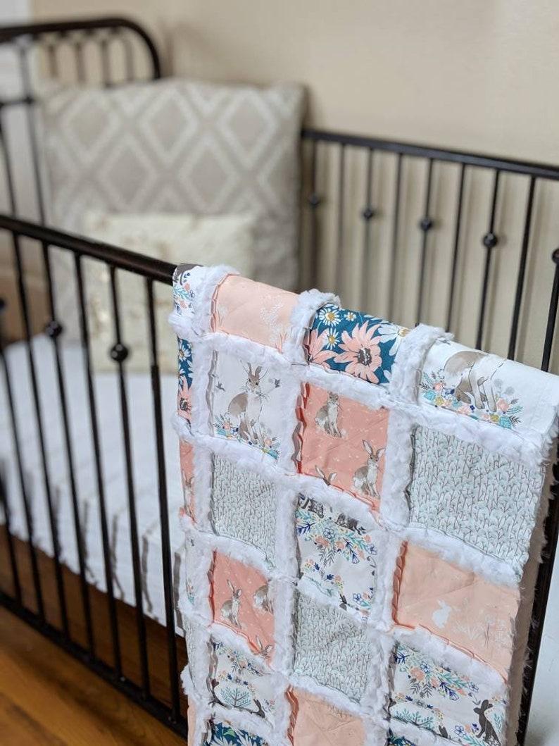 Bunny Baby Blanket  Minky Rag Quilt  Crib Blanket for Baby image 0