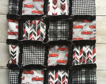 Minky Quilt with Red, Gray, and Black Vintage Trucks