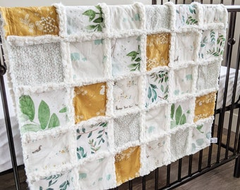 Gender Neutral Baby Quilt - Greenery Baby Blanket - Rag Quilt for Gender Neutral Baby Gift