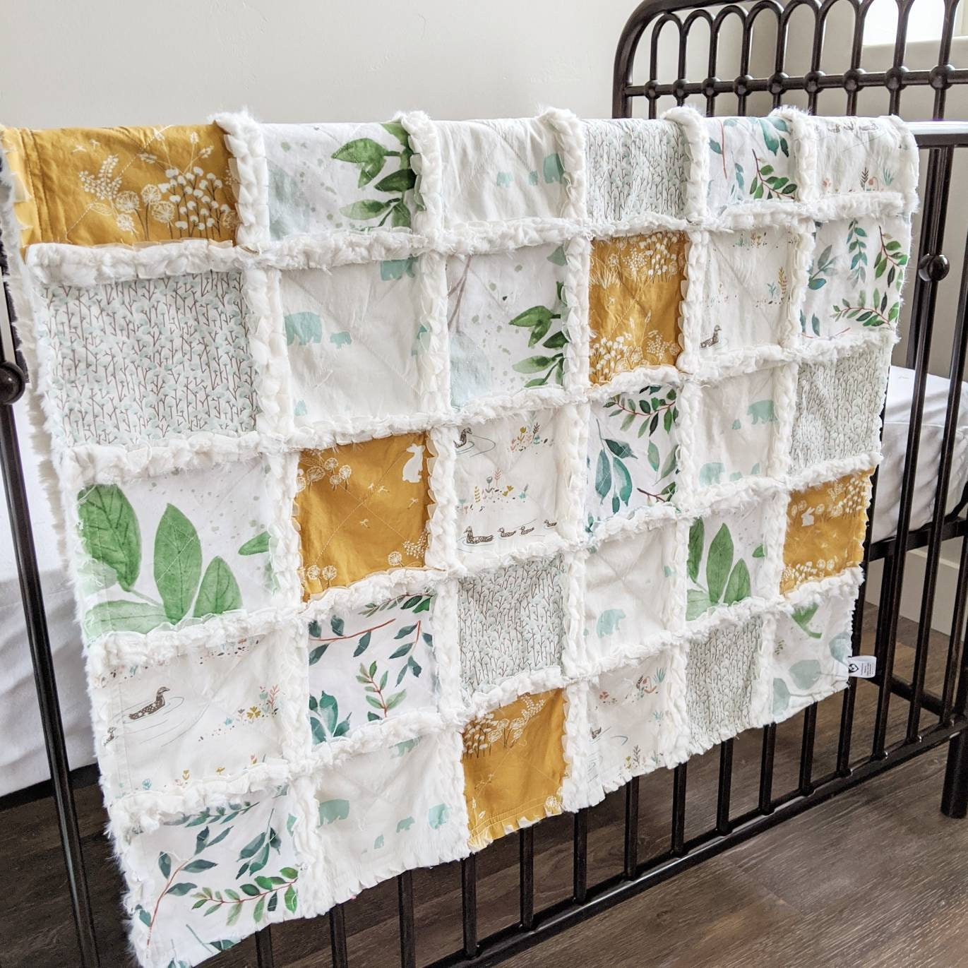 Gender Neutral Baby Quilt Greenery Baby Blanket Rag Quilt For Gender Neutral Baby Gift