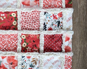 Red Floral Baby Quilt - Crib Quilt for Baby Girl - Modern Baby Blanket - Red Polka Dot Bedding - Minky Rag Quilt