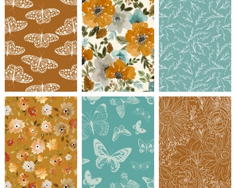 Vintage Butterly Floral Baby Quilt in Mustard Yellow, Rust, Dusty Blue - Crib Quilt for Baby Girl Earth Tones - Minky Rag Quilt
