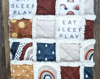Neutral Rainbow Baby Quilt - Crib Quilt for Baby Girl - Modern Baby Blanket - Eat Sleep Play - Minky Rag Quilt
