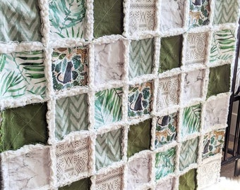 Green Jungle Animals Minky Quilt - Gender Neutral Baby Gift - Baby Boy Quilt - Jungle Animals Blanket -Sloths - Minky Rag Quilt
