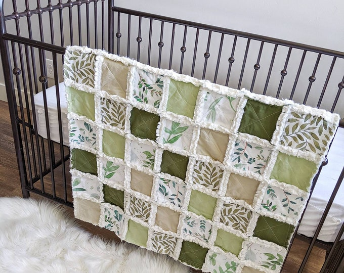 Featured listing image: Fiddle Leaf Gender Neutral Baby Quilt - Green Foliage Crib Quilt - Nursery Decor