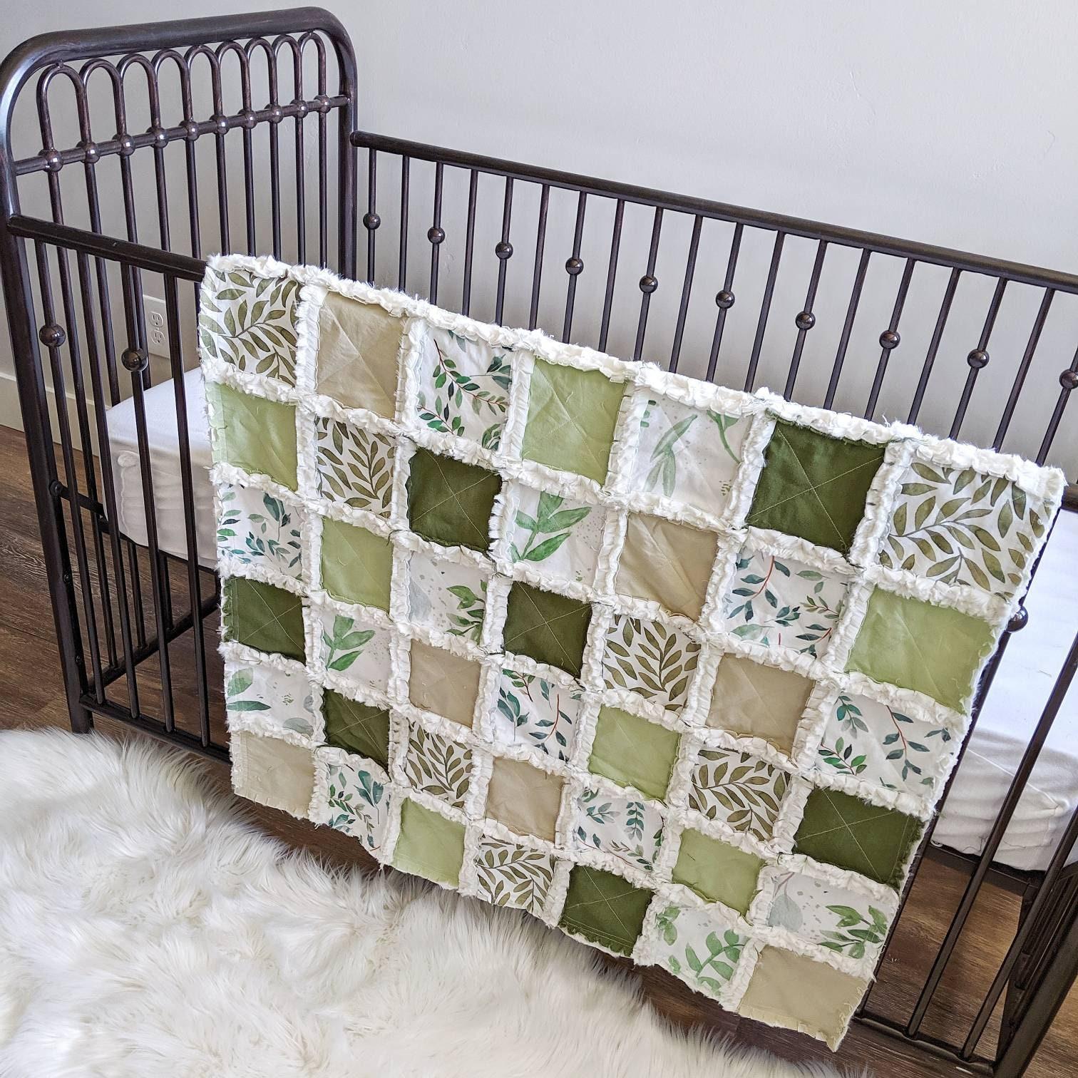 Fiddle Leaf Gender Neutral Baby Quilt Green Foliage Crib Quilt Nursery Decor