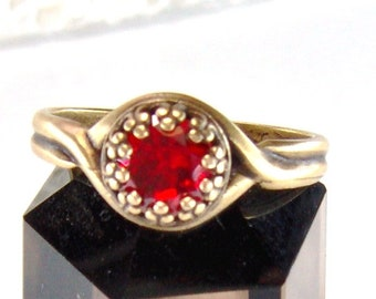 Antique brass Ruby CZ adjustable crown ring / July birthstone / 6mm Ruby ring / promise ring / Mothers Day gift / girlfriend gift