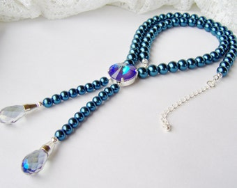 Cobalt Blue Pearl Necklace / long pearl necklace / Y necklace / Statement necklace / Rhinestone and Pearl / Lariat / gift for her / unique