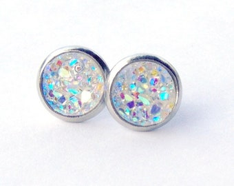 AB Druzy surgical steel stud earrings / faux druzy / Aurora borealis / girlfriend gift / gift for her / hypoallergenic earrings / bridesmaid