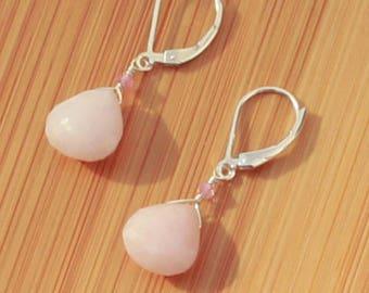 Pink Opal Earrings, October Birthstone, Pink Tourmaline Earrings, Peruvian Pink Opal Jewelry