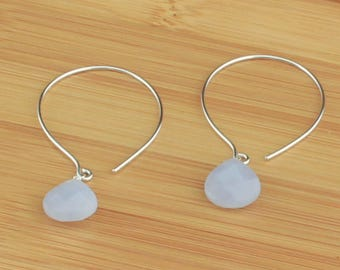 Light Blue Chalcedony Teardrop Earrings, Hoops, Silver Hoop Earrings, Periwinkle, Light Violet Blue Gemstones
