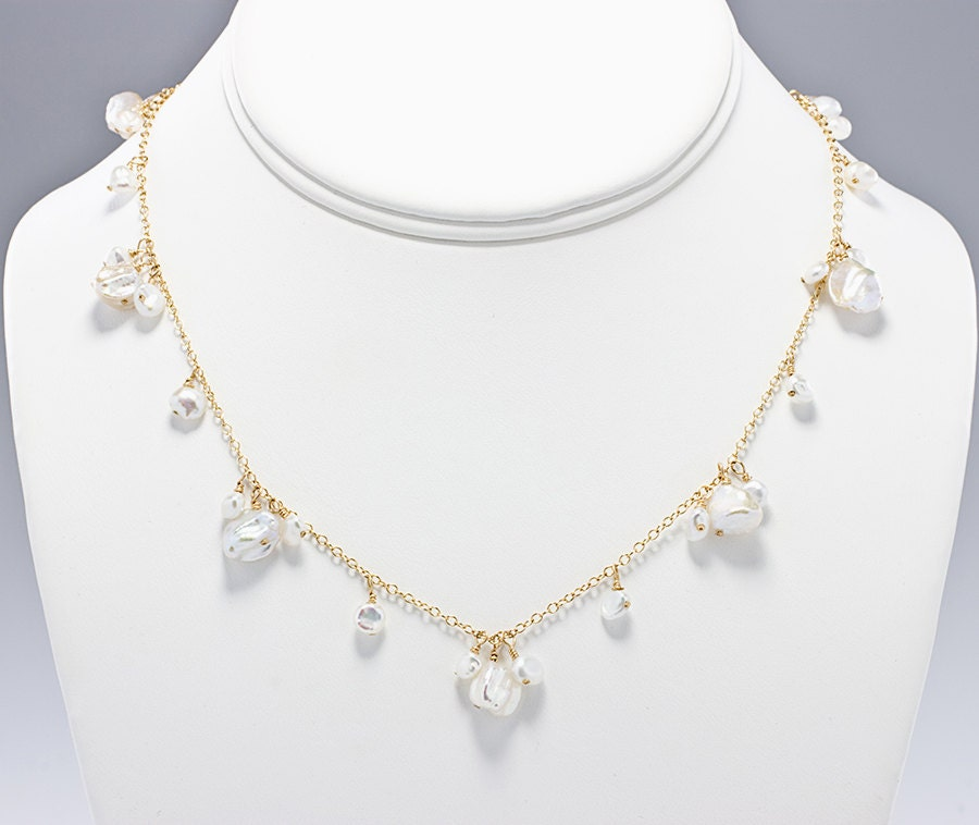 Keshi Pearl Necklace: Keshi Pearl Necklace Beach Wedding Jewelry Bridal Necklace