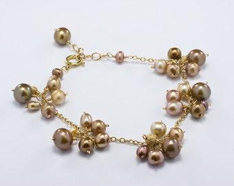 Brown Pearl Cluster Bracelet, Chocolate Pearl Bracelet, Brown Bridesmaid Jewelry, Bronze, Pearl Cluster Bracelet, Gold Filled