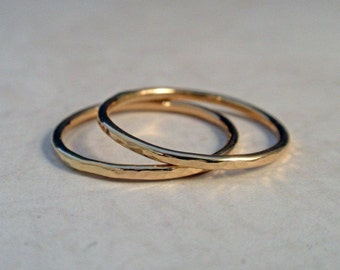 14K Gold Ring Band Set Hammered Set of Two Gold Stacking Ring Bands