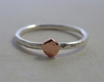 14K Rose Gold and Sterling Silver Ring Band Hammered Stacking Ring
