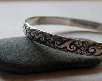 Silver Floral Bangle Oxidized Sterling Silver in Modern Floral Pattern