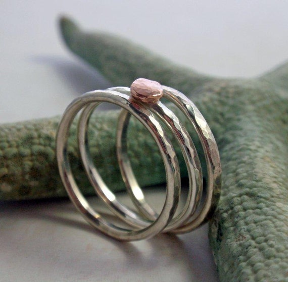 e120f401eacb8 14K Rose Gold and Sterling Silver Hammered Stacking Ring Band Set of Three