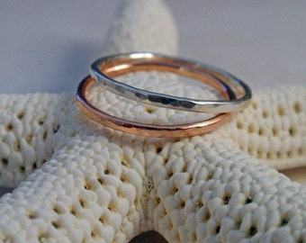 14K Rose Gold Ring Band Set with Sterling Silver Hammered Ring Band