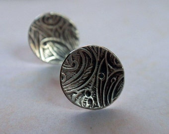 Floral Patterned Circle Disk Earrings Oxidized Sterling Silver Post Earrings Vintage Floral Pattern