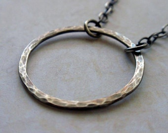 Oxidized Silver Eternity Circle Necklace Large Hammered Hoop in Sweet Sterling Silver
