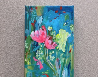 Original Abstract Floral  Painting Painting, Flowers, Vibrant, Hot Pink Floral Painting, Bouquet, Acrylic Painting, Beautiful Modern