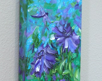 Original African Purple Eyed Daisy Painting, Flowers, Vibrant, Purple Blue Floral Painting, Acrylic Painting, Beautiful Dragonfly, Modern