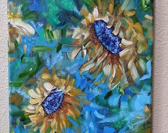 Sunflower Poppy Painting on Canvas, Flowers, Sunflowers, Whimsical, Contemporary, Beautiful, Abstract Flower Painting, Original Acrylic Art