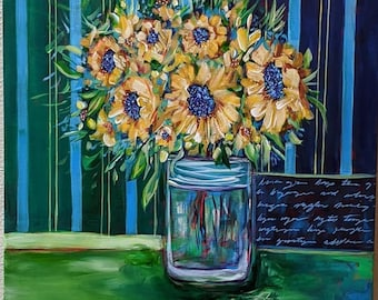 Original Sunflower Painting on Canvas, Modern Art, Contemporary, Acrylic Painting, Abstract Flowers, Still Life, Van Gogh Inspired, Green