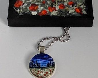 Pendant Necklace,  Handpainted, Hand Painted Flower Pendant, Stocking stuffer, Painted, Wearable Art, Landscape, sky