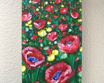 Original Red Poppies Painting Painting, Flowers, Vibrant, Red Green and Yellow Floral Painting, Acrylic Painting, Beautiful Modern