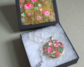 Original Handpainted Vibrant Pink flower Pendant, aquamarine, Necklace Pendant, Jewelry, Beautiful Sterling Silver Necklace Pink and Gold