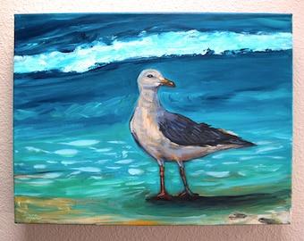 Original Seagull Painting on Canvas, Modern Art, Contemporary, Acrylic Painting, Sea Gull , Ocean, Beach Art, Painterly, Blue, Bird, Water