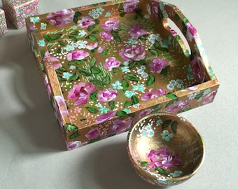 Original Handpainted Trinket Tray, Roses, Gold Flowers, Floral, Garden, Paint Pens, Jewelry Tray, Acrylic Painting, Beautiful Flowers, Bowl