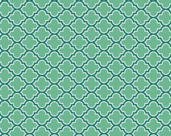Joel Dewberry Fabric, True Colors Collection, Lodge Lattice in Turquoise, cotton quilting fabric -  HALF YARD - SALE