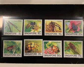 1985 Singapore Queen Elizabeth Stamps, Insects Definitive Stamp Collection, Mint, In Archival Sleeve