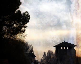 Watchtower - Florence, Italy - Downloadable Print - Digital Prints - Landscape - Black Wall Art - Printable Art - Watercolor