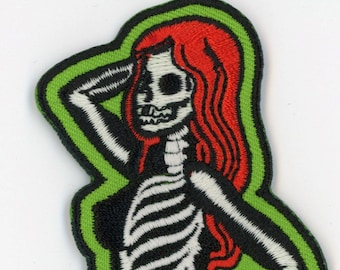 Patch Skeletal Girl Glow in the Dark Side Dead Pin Up Rockabilly Horror NFP033
