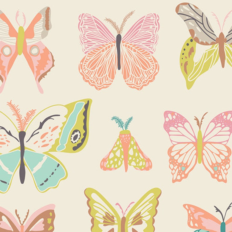 Wingspan Melon Fabric Butterfly Fabric Art Gallery Fabrics image 0
