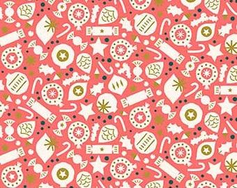 Figo Fabric, Red Christmas Toss Fabric - Figo Fabrics Polar Magic, Lemonni Fabric, Christmas Candy Fabric, 1 yard