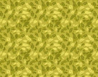 Leaves Green, Summers End by Alison Janssen, Quilting Cotton, Summers End Fabric by Figo, Quilt Fabric, 90342-72
