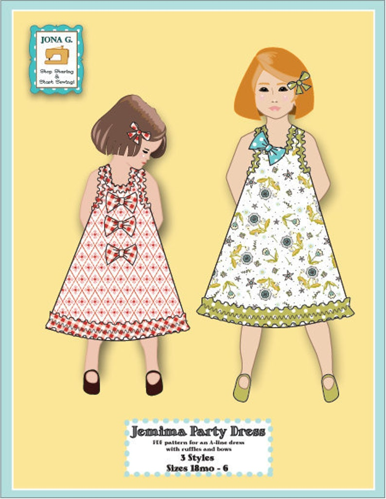 Jemima Party Dress PDF Sewing Pattern downloadable e-book image 0