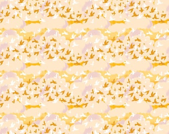 Birds Yellow Multi, Summers End by Alison Janssen, Quilting Cotton, Summers End Fabric by Figo, Quilt Fabric, 90339-50