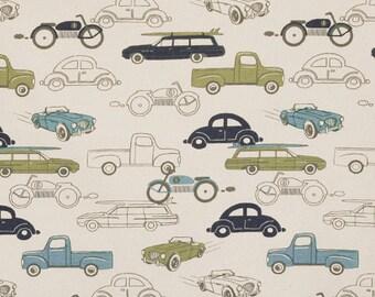 NEW! 1 yard Premier Prints Retro Cars - Retro Rides - kids room - 1 yd - Felix/Natural - antique classic cars fabric - Home Decor Fabric