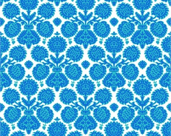 Krysta Blue Fabric, Happy Camper Fabric by Jennifer Paganelli for RB Studios, Quilting Cotton, Quilt Fabric, by the yard, 2501-19